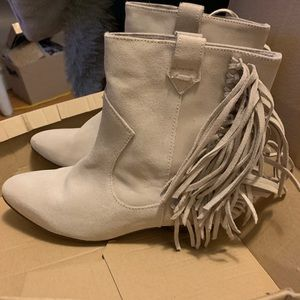Suede booties/ leather